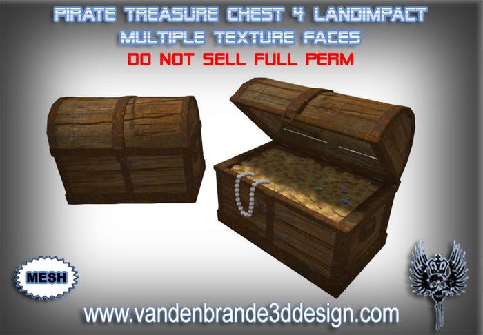 ~Full perm Pirate Treasure chest 100% mesh!