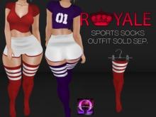 [Royale] Thigh High Socks Red & White