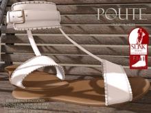 Poute- Ariel Flat Sandals- White