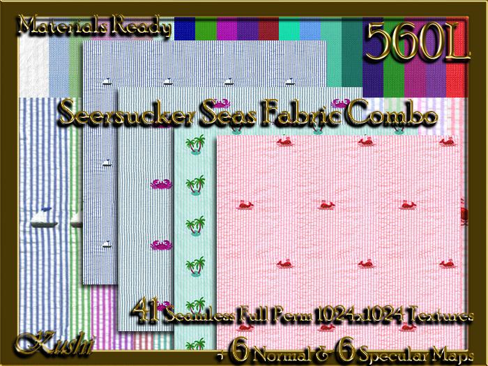 Second Life Marketplace Seersucker Seas Embroidered Seersucker