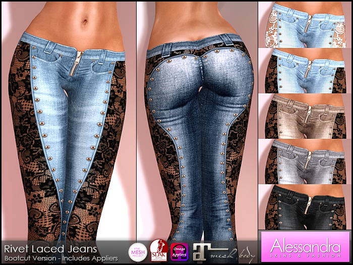 ALESSANDRA - Rivet Laced Jeans (7 Colors)