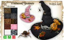 [MF] Mesh halloween witch hat  with pumpkins & spiders (boxed)