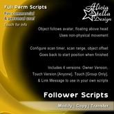 Follower Scripts - Full Perm Script Set - Floating Scripts - Floats Above User's Head