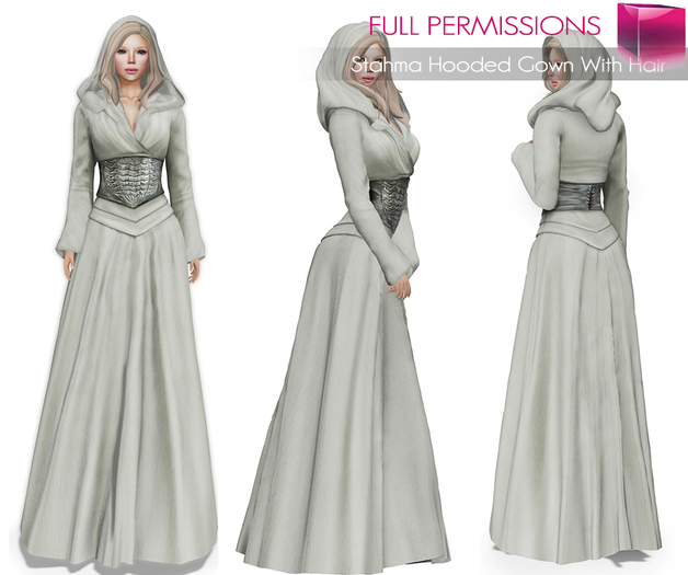 Full Perm Mesh Stahma Hooded Gown With Hair