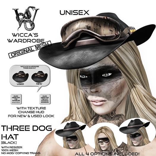 Wicca's Wardrobe - Three Dog Hat [Black] [BOXED]