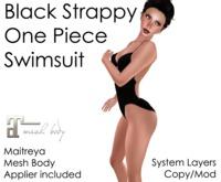 Strappy Black One Piece Swimsuit (Maitreya Applier)
