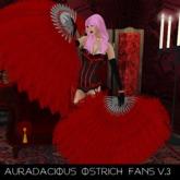 ::AU:: Scarlet Ostrich Feather Fans