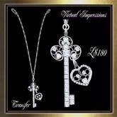 Virtual Impressions Key to my Heart Necklace-Silver & Diamonds