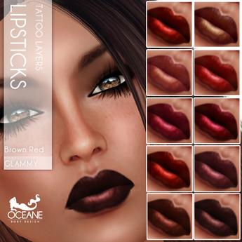 Oceane - Glammy Lipsticks Red Brown Fat Pack (10x)