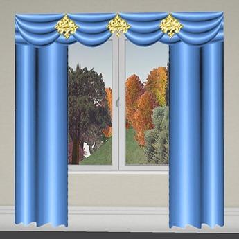 Curtain 2 Lightblue-Gold