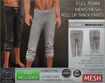 -TD- TEMPLATES - Mens MESH Rolled Up Track Pants *FULL PERMS*