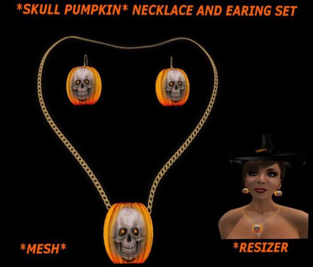 *SKULL PUMPKIN * NECKLACE  AND EARING SET