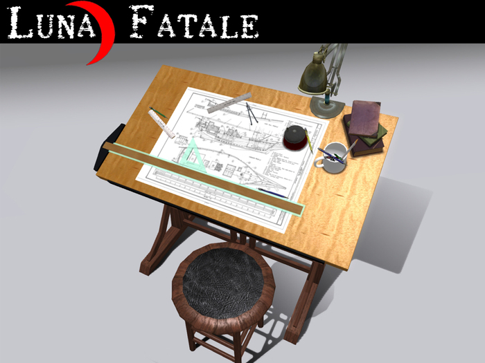 """Couples Animated Drafting Table """"Craftsman"""" Reproduction"""