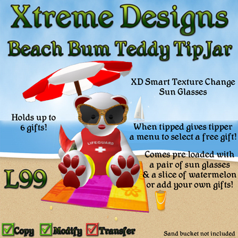 Beach Bum Teddy Bear TipJar