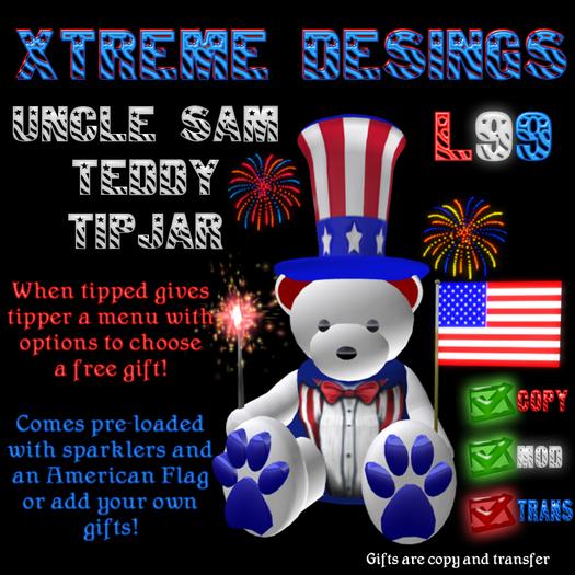 Uncle Sam Teddy Bear TipJar