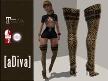 aDiva Sameya Thigh High Nubuk Boots Leopard TMP/Slink/Maitreya