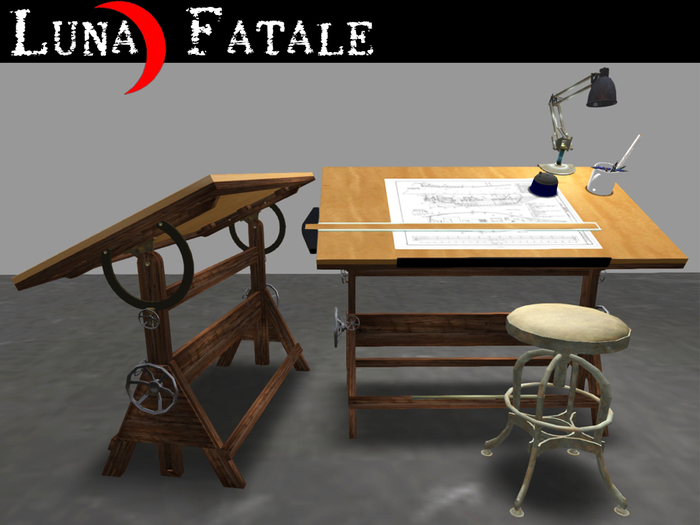 "Couples Animated Drafting Table ""Antique 1920's"" Styling"