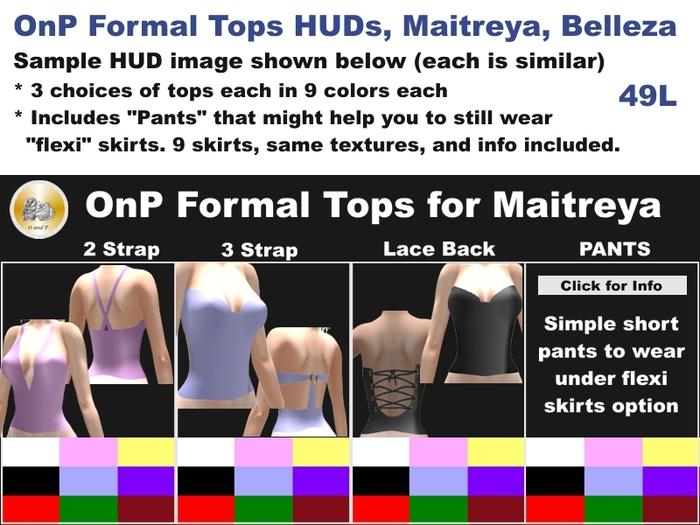 OnP Formal Tops HUDs for Maitreya, Belleza