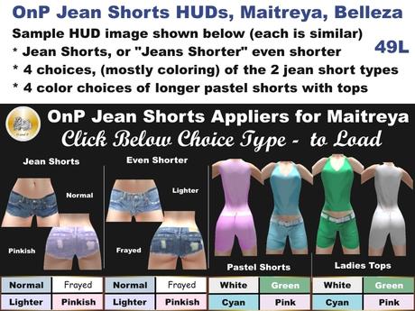 HUDs OnP Jean Shorts Appliers for Maitreya, Belleza