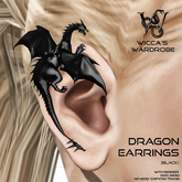 Wicca's Wardrobe - Dragon Earrings [Black] [BOXED]