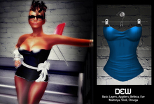 """DEW"" Straplese Top blue /with appliers"