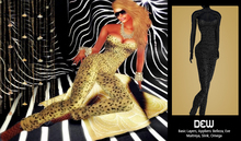 """""""DEW"""" OUTLET /Catsuit leopard black with appliers"""