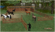 Stockyard Corral & Pole Barn [MESH] with Swinging Gate for your ABC, AKK & Amaretto Horses