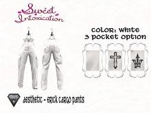 ::Sweet Intoxication:: Erick Cargo Pants - White - Aesthetic-3H