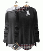 GIZ SEORN - Lulu Sweater with Shirt [Black - Grey]