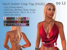 Neck Halter Crop Top (HUD) for Maitreya Lara, Belezza, Slink and many more Avatars