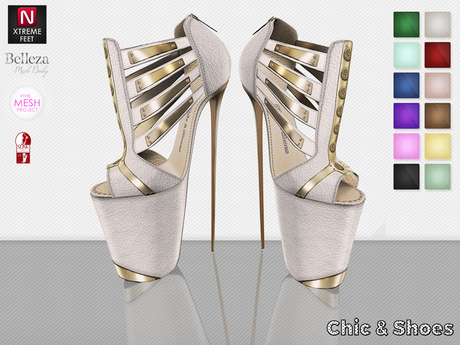 C&S Claudia Shoes 12 Colors HUD (Slink High, Belleza, #TMP Ouch & N-Core) Rigged & Fitted Mesh Platforms