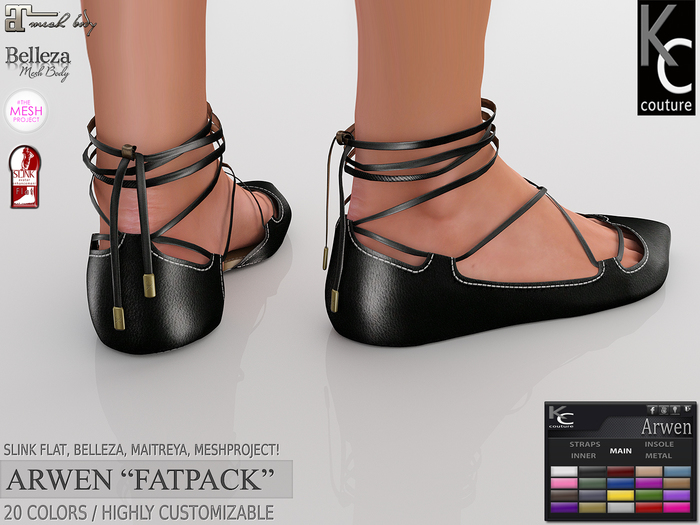.:KC:. ARWEN FLAT SHOES - SLINK, MAITREYA, BELLEZA, TMP!