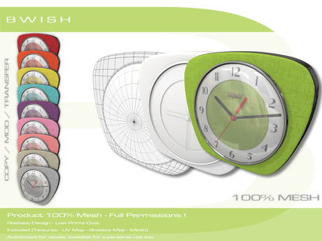 BWish - Vintage Clock 1960's Mesh - 10 Colors Full Permission
