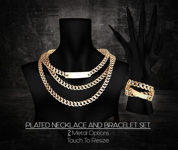 [.G.]Plated Necklace/Bracelet Set_GOLD