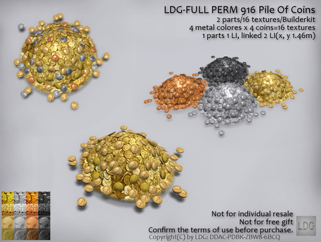 LDG-FULL PERM 916 Pile Of Coins /2 parts/16 textures/Builderkit