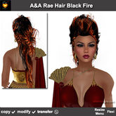 A&A Rae Hair Black Fire (Single Color Promo). Beehive updo with long hair in the back
