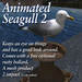 Seagull 2 (animated) with free bollard - mesh - bird/gull/sea/seaside/harbour/wharf/bouy/marker/navigate/ocean