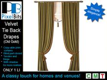 PB - Velvet tie back drapes (old gold)