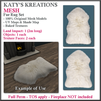 **LIMITED PROMO** 50% OFF FULL PERM MESH: Fur Rug Set, Mesh Fur Rug, Mesh Bear Rug, Mesh Sheepskin Rug