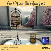 Antique Brass Bird Cages with blue jays (Crate)