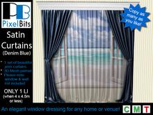 PB - Satin Curtains with Pelmet (denim blue)