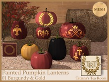 TTR-Painted Pumpkin Lanterns 01 Burgundy & Gold