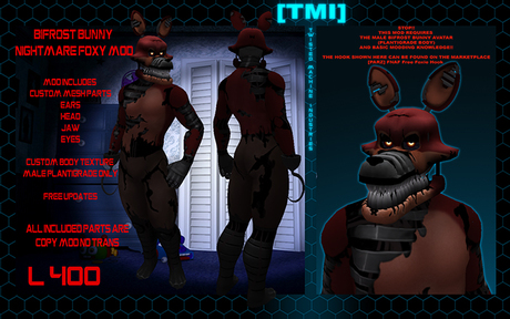 Second Life Marketplace Fnaf Jomo Female Fox Mods