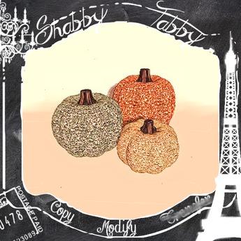 *Shabby* Autumn Warmth Glitter Pumpkins