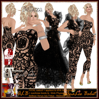 PROMO - ALB FATAL lace CATSUIT black + gown + applier + boots to Maitreya - Freya - Venus - Slink - Isis by AnaLee Balut