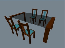 Glastable with 4 wooden chairs
