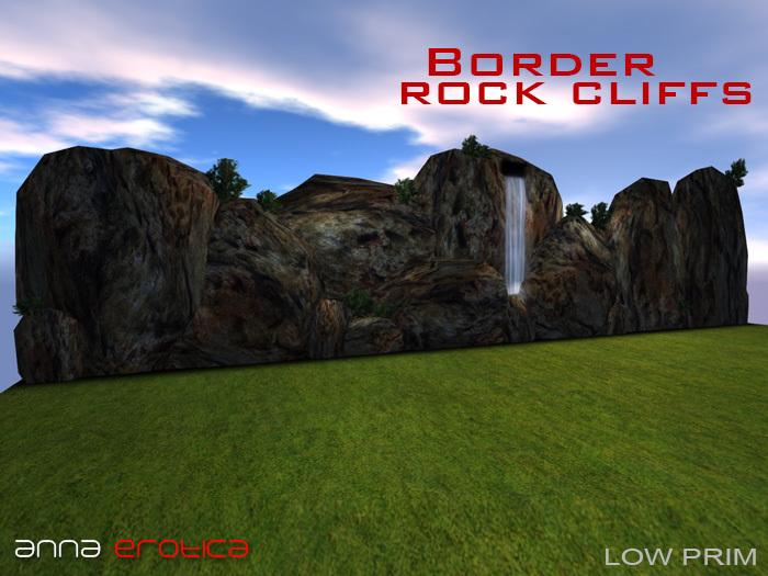Anna Erotica - Border Rock Cliffs with Waterfall - 4 Prims!