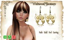 [MF] Mesh Gold Owl Earrings (boxed)