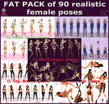 Voir - FAT PACK OF 90 REALISTIC FEMALE POSES