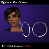 Night Owl Designs -  Silver Hoop Earrings